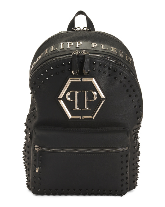 Made In Italy Studded Logo Travel Backpack