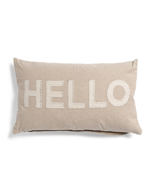 Made In India 14x20 Natural Hello Pillow