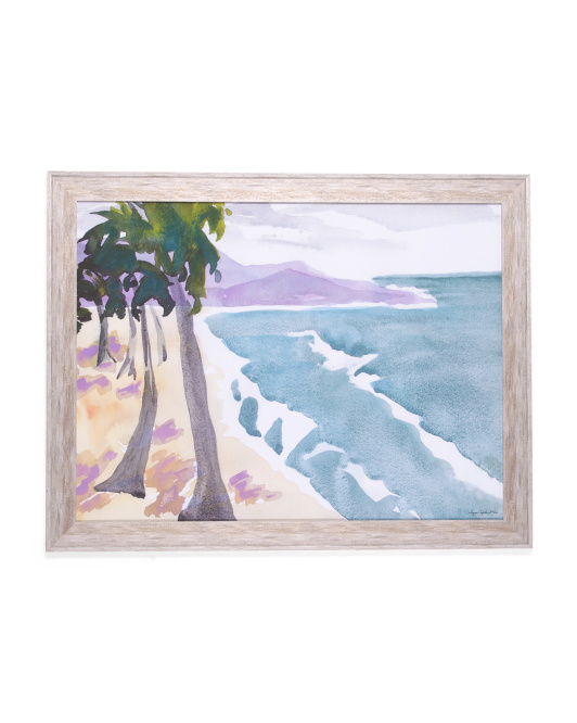 30x45 Framed Beach Watercolor Painting