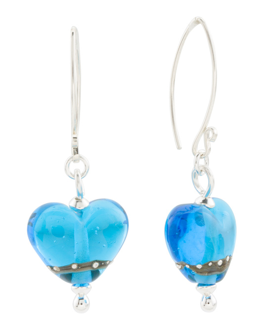 Handcrafted In England Sterling Silver Heart Bead Earrings