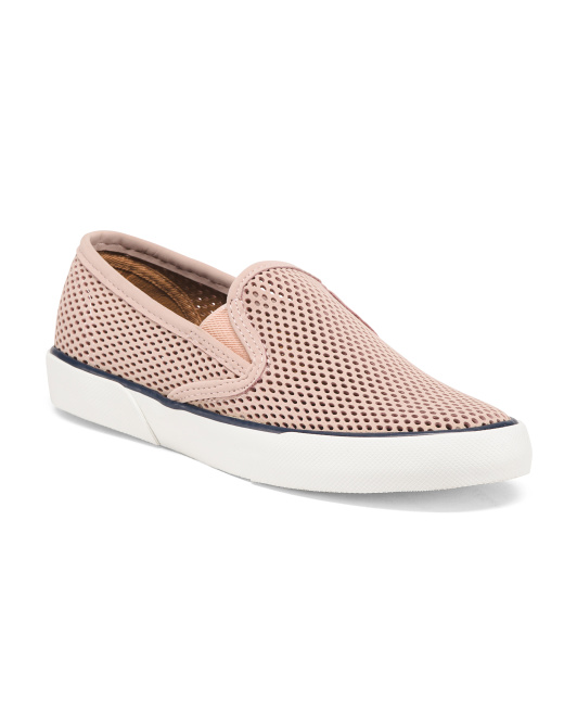 Leather Perforated Slip On Sneakers