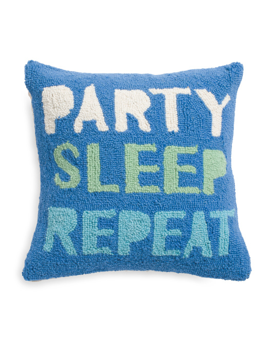 16x16 Hand Hooked Party Sleep Pillow