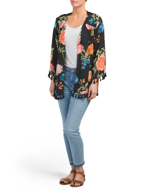 Floral Kimono With Cage Back
