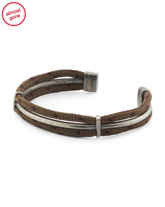 Men's Made In Great Britain 925 Brown Rope Aire Cuff Bracelet