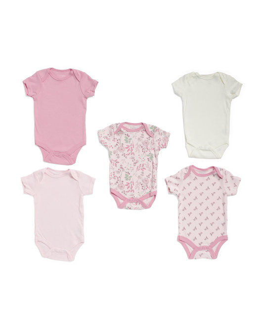 Newborn Girls 5pk Floral Grow With Me Bodysuits