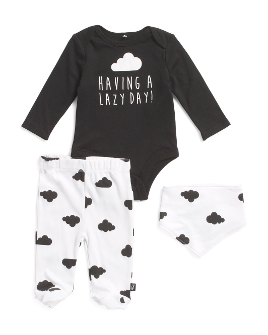 Newborn Boys 3pc Lazy Day Footed Pant Set With Bib