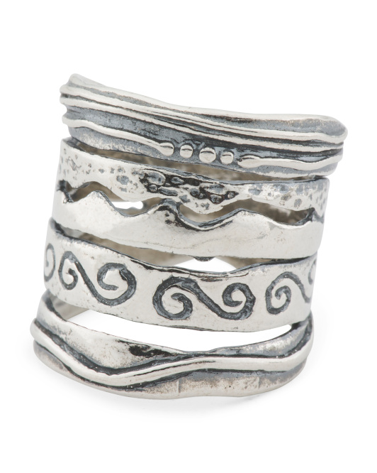 Made In Israel Sterling Silver Scrolled Ring