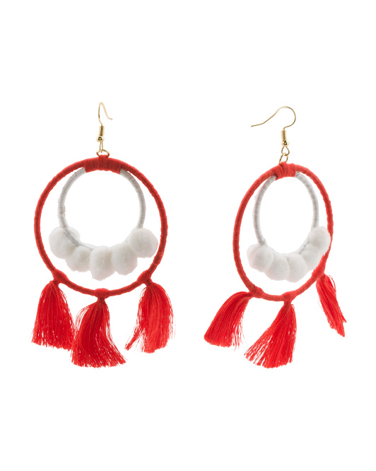 Pom Pom Tassel Statement Earrings