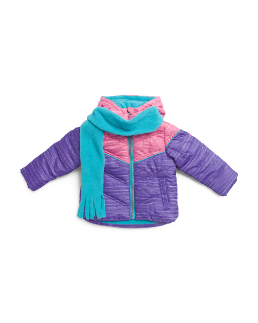 Toddler Girls Space Dye Color Block Jacket With Scarf