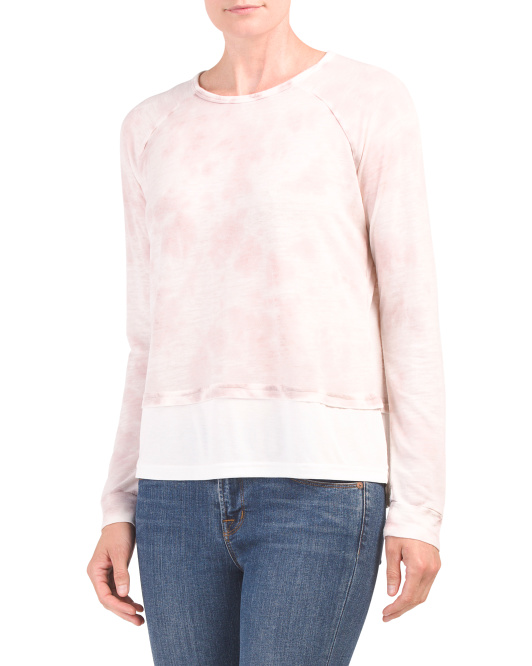 Washed Double Layer Pullover Sweater