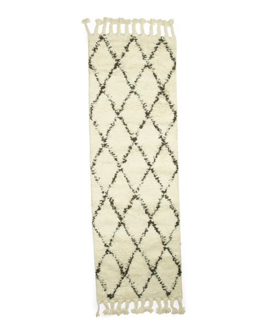 Made In India Moroccan Shag Wool Runner