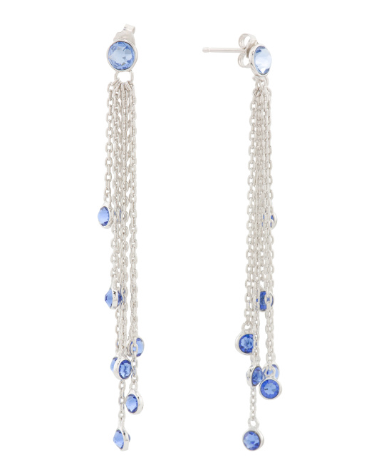 Sterling Silver Swarovski Crystal Statement Tassel Earrings