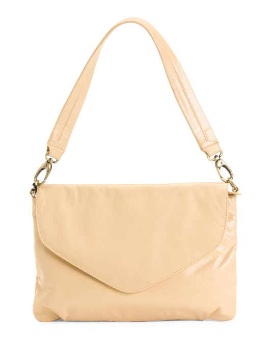 Leather Envelope Flap Shoulder Bag