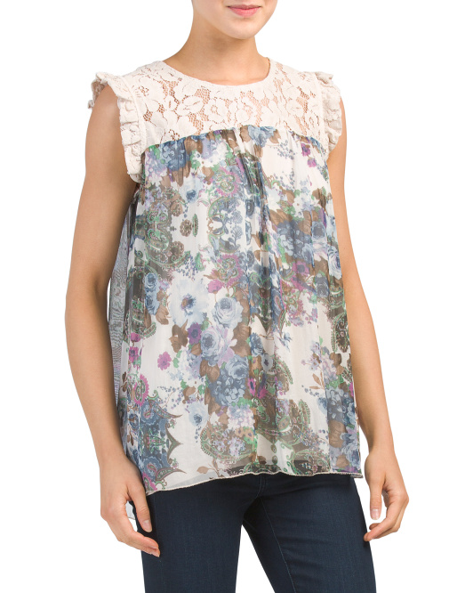 Made In Italy Floral Silk Top