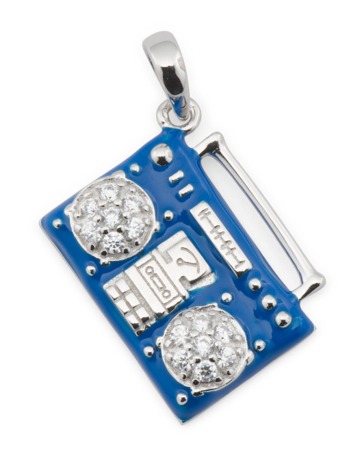 Sterling Silver Cz And Enamel Boombox Charm