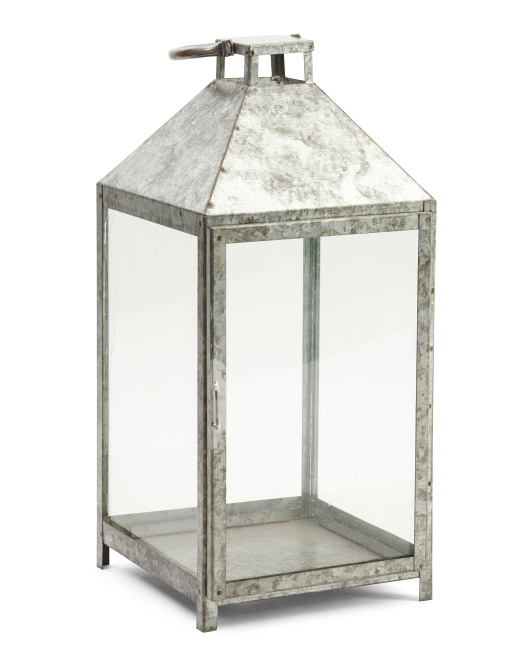 Made In India 19in Galvanized Lantern