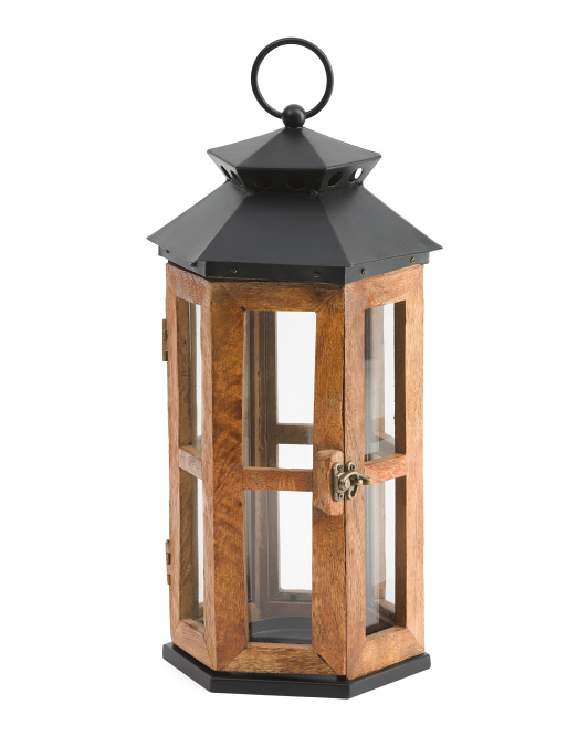 Made In India 16in Wooden Lantern