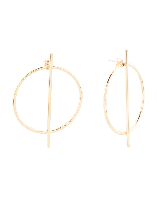 Made In Italy 14k Gold Bar And Circle Earrings
