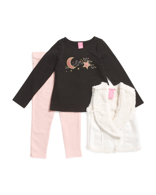 Infant Girls 3 Pc Star And Moon Faux Sherpa Vest Jegging Set