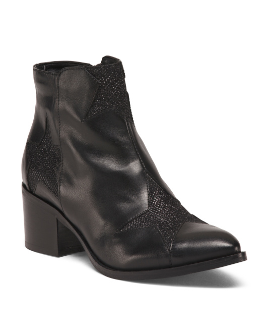 Made In Italy Block Heel Leather Booties