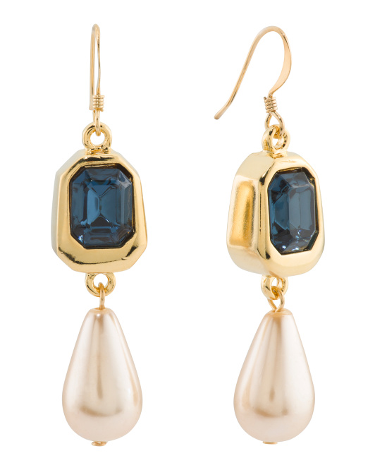 Made In Usa Sapphire Pearl Drop Earrings
