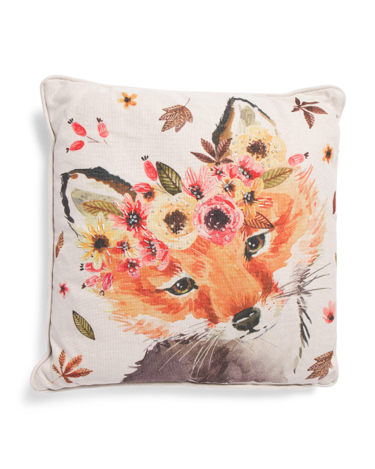 20x20 Watercolor Fox Pillow