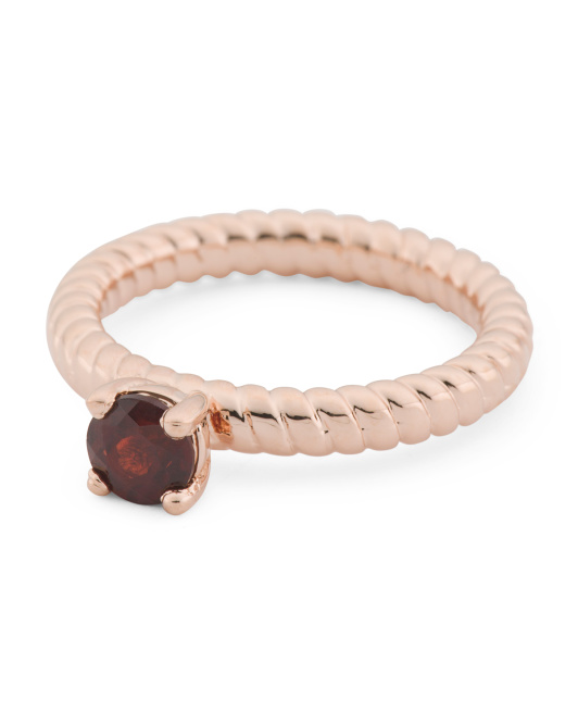 Made In Italy 14k Rose Gold Plated Bronze Garnet Ribbed Ring