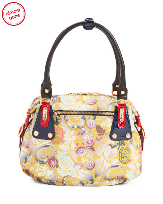 Made In Italy Floral Leather Satchel