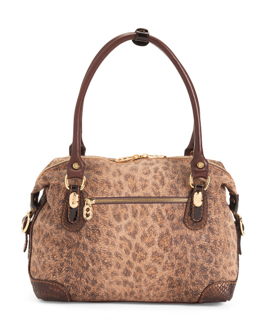 Made In Italy Leopard Leather Satchel