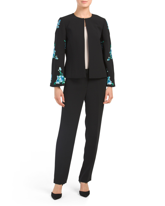 Embroidered Jacket & Pant Suit Set