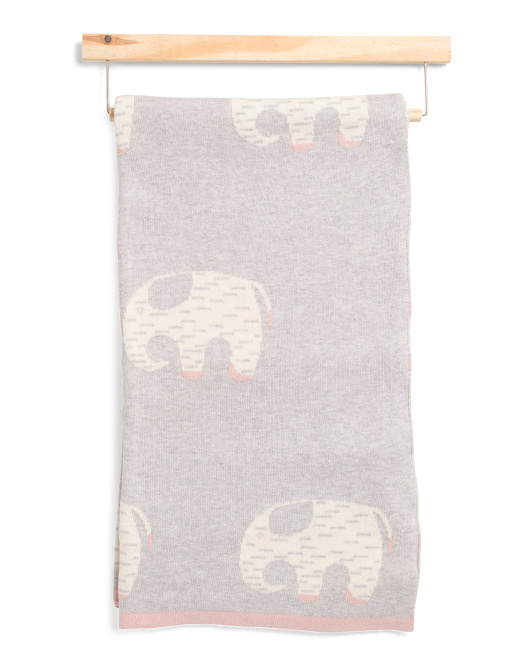 Knit Elephant Baby Blanket