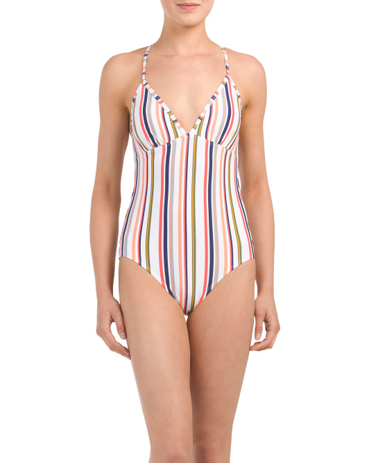 Made In Usa Vertically Striped One-piece Swimsuit