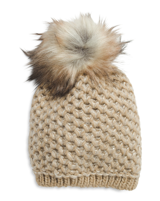 Made In Italy Eco Fur Pom With Sequins