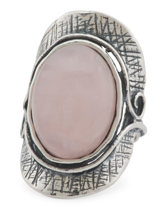 Made In Israel Sterling Silver Rose Quartz Ring