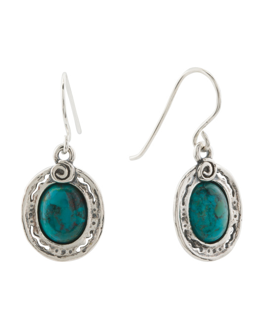 Made In Israel Sterling Silver Turquoise Drop Earrings