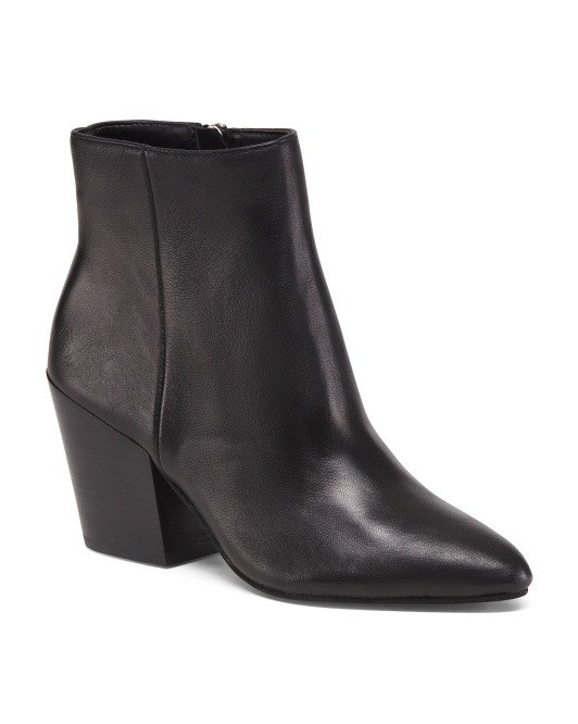 Stacked Heel Pointy Toe Leather Booties