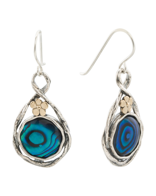 Made In Israel 14k Gold And Sterling Silver Abalone Earrings