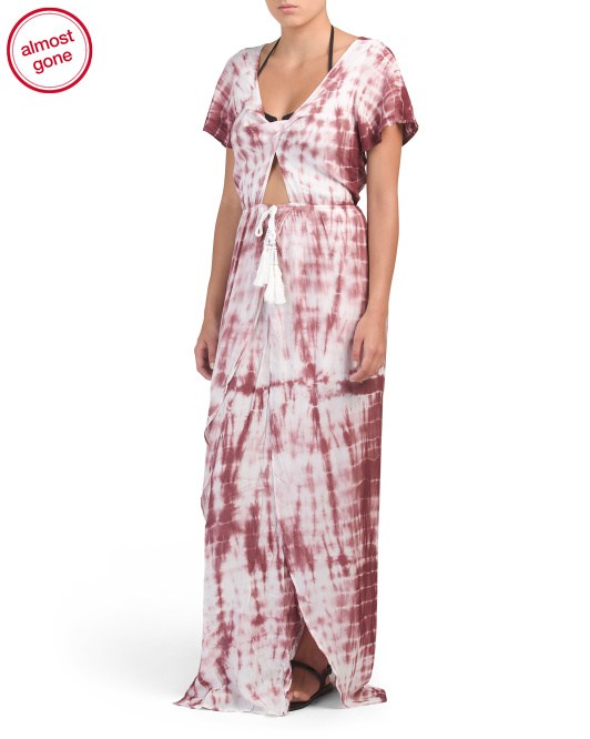 Tie Dye Front Slit Cover-up Maxi Dress
