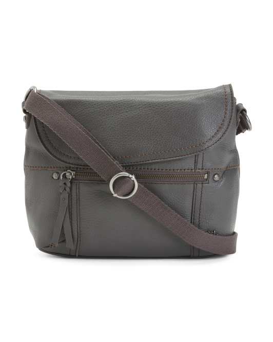 Carson Leather Flap Crossbody With Web Strap