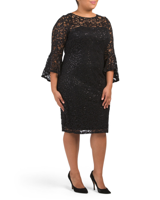Plus Lace Bell Sleeve Dress