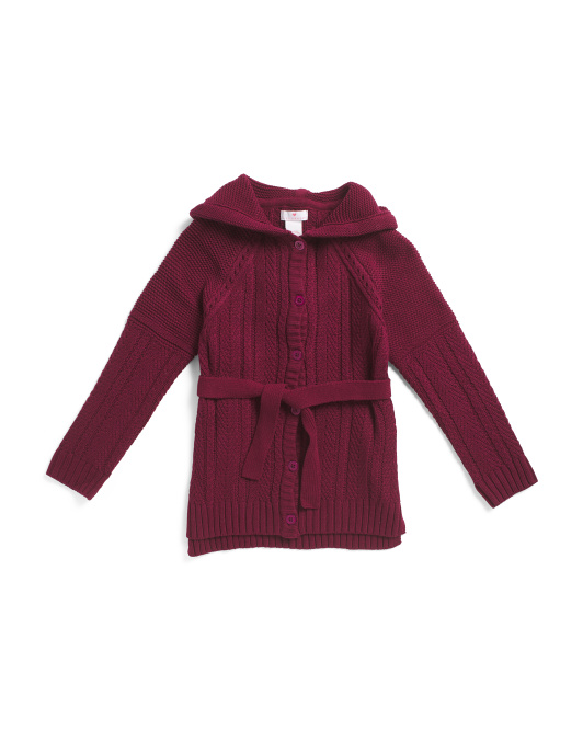 Big Girls  Cable Hooded Cardigan With Belt
