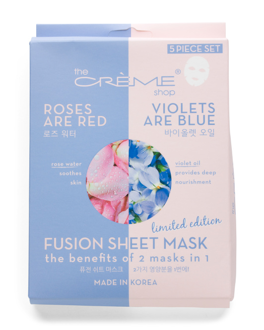 Made In Korea 5pk Rose And Violet Fusion Face Masks