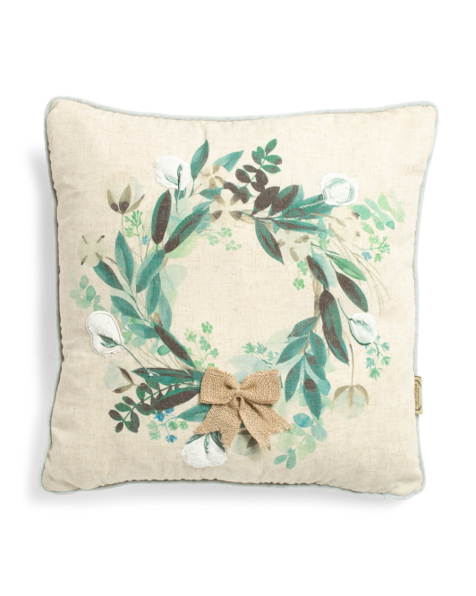 20x20 Faux Linen Wreath Pillow