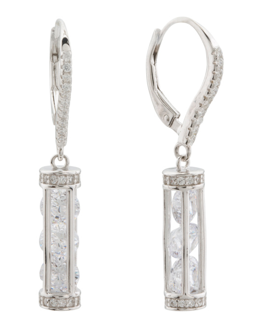 Sterling Silver Caged Cz Earrings
