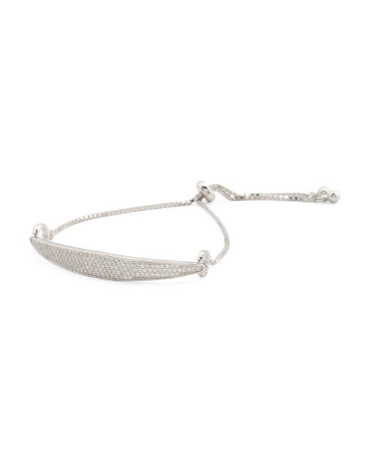 Sterling Silver Cz Adjustable Bracelet