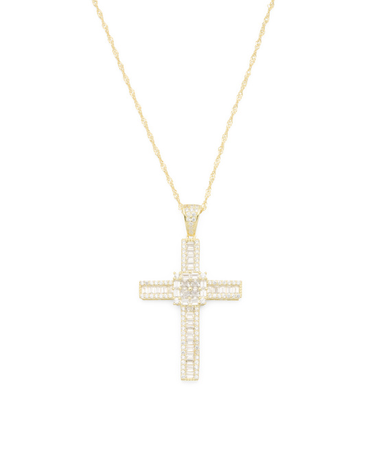 14k Gold Plated Sterling Silver Large Cz Cross Necklace