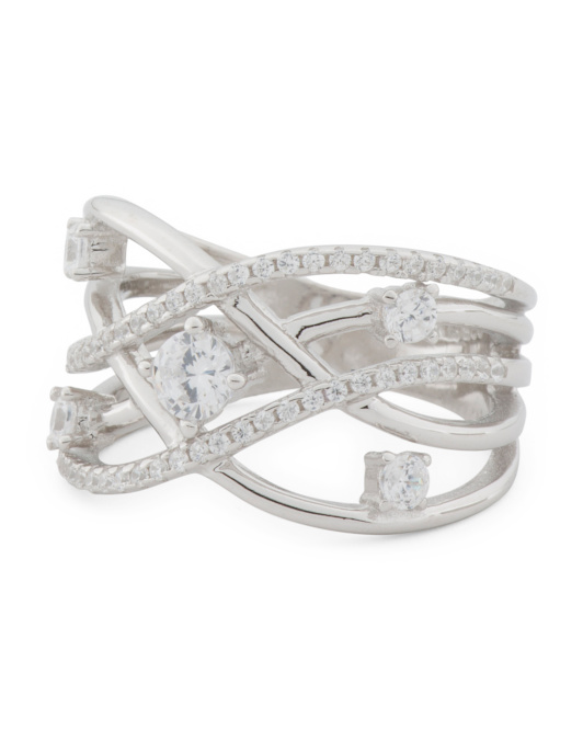 Sterling Silver Cz Crossover Ring