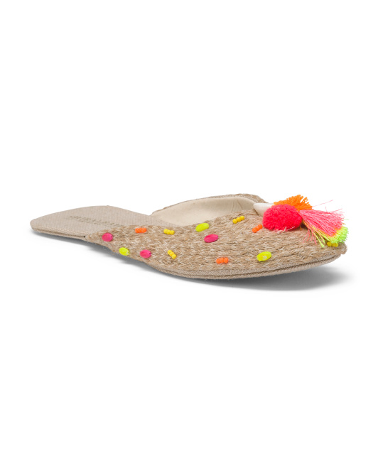 Aida Straw Slippers With Shell Detail