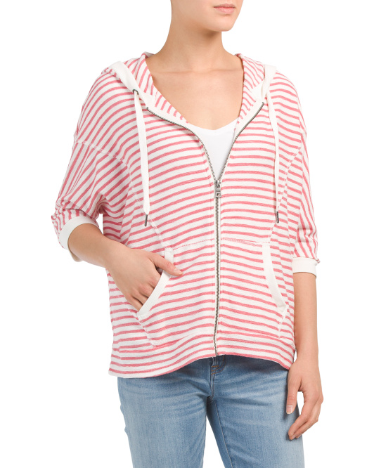Textured Stripe Zip Front Top