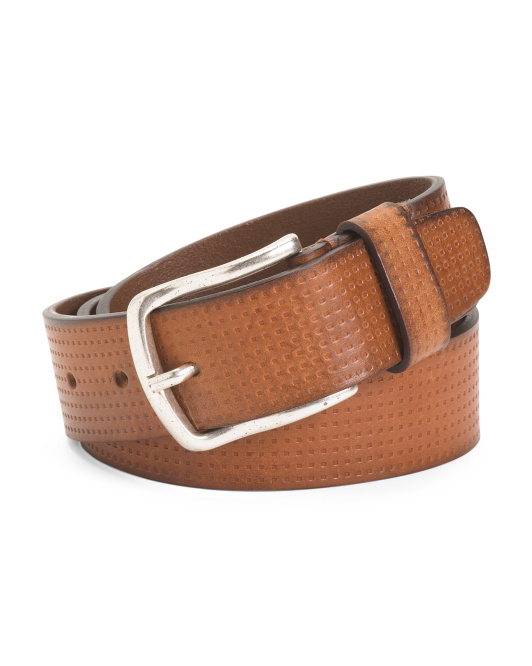 Made In Italy Leather Square Print Belt